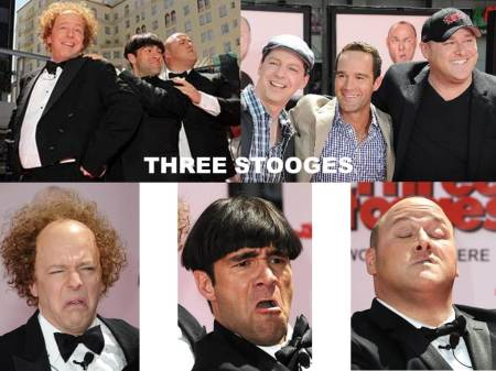 The Three Stooges Actors Sean Hayes (Larry), Chris Diamantopoulos (Moe), and Will Sasso (Curly)