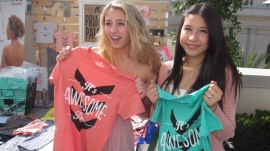 LIA MARIE JOHNSON AND CHARSIM KAIN WITH THEIR NEW TEES