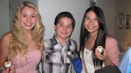 ACTRESS LIA MARIE JOHNSON, ACTOR ZACH CALLISON AND SINGER CHARISMA KAIN AT THE WOW GIFT LOUNGE ON FEBRUARY 18, 2013