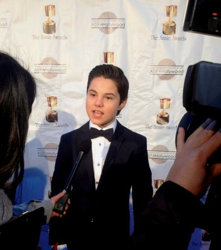 Zach Callison on the red carpet of the 2014 Annie Awards