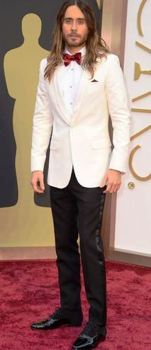 Award show favorite, Jared Leto in stylish white Saint Laurent tux.