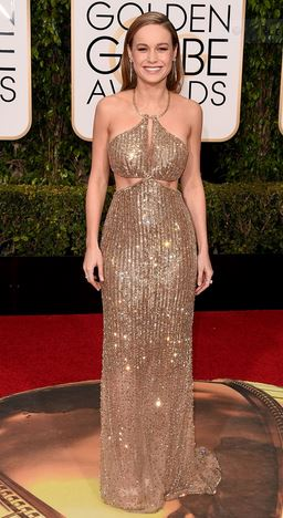 """Most Elegant"" Brie Larson  with this Custom Calvin Klein collection hand embroidered topaz and crystal gown"