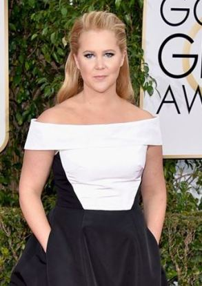 A favorite at the Golden Globes Amy Schumer wearing an Atelier Prabal Hetrung