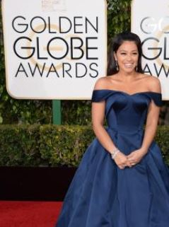The always beautiful Gina Rodriguez wearing an off the shoulder Zac Posen