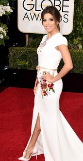 The always fun and fashionable Eva Longoria wearing a Georges Hobeika embellished white gown