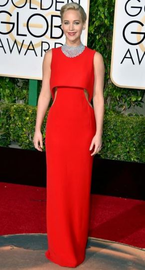 Golden Globe Winner Jennifer Lawrence wearing  a Dior Gown and  diamond Chopard choker necklace