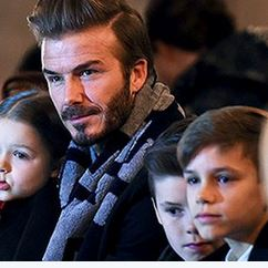 DAVID BECKHAM AND KIDS AT THE NYFW