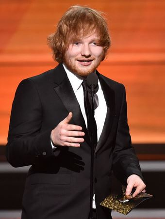 ed sheeran accepts the grammy for song of the year